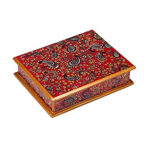 NOVICA Hand Crafted Reverse Painted Glass Jewelry Box, Red, 'Passion' (Painted Hand Glass Reverse)
