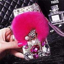 Dark Pink Fur Diamond Crystal Rhinestone Case for Oppo Mobile