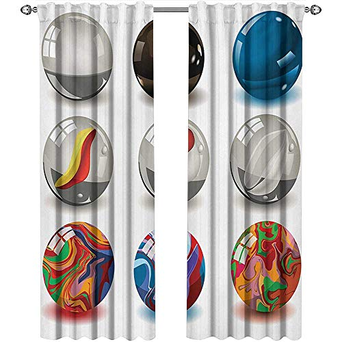 shenglv Pearls, Curtains Sliding Glass Doors, Collection of Different Marbles with Glass and Porcelain Materials Like Bubbles Artwork, Curtains Kitchen Window Set, W84 x L84 Inch, Multi