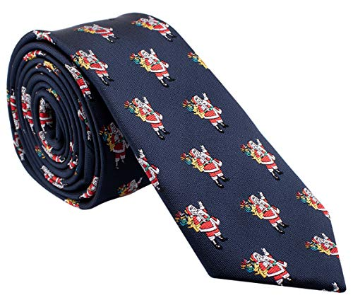 Holiday Christmas Ties for Men - Navy Blue with Santa Claus - Cool Mens Neckties