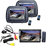 """Vehicle Headrest Monitor Receiver and Front/Rear View Camera Package – PLD71MU 7"""" TFT Motorized Touch Screen DVD/CD/MP3/CD-R/USB/SD/AM/FM/RDS Radio Player Receiver – PL71PHB Adjustable Headrest Pair with Built-in 7"""" TFT-LCD Monitors (Black) (Pair) – PLCM37FRV Universal Mount Optional Front View & Rear View Backup Color CMD Camera Built-In Distance Scale Line for Car, Van, Truck, Bus, Mobile etc."""