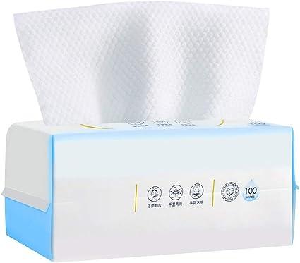 Tejido de algodón facial de gran tamaño, 100% algodón suave, toalla de cara desechable para pieles sensibles, uso seco y húmedo, 1 paquete de 100 unidades: Amazon.es: Oficina y papelería