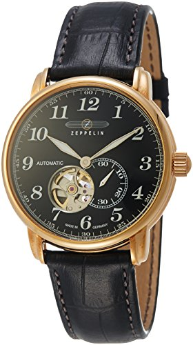 Zeppelin Series LZ127 Men's Mechanical Open-Heart Watch Goldtone and Black 7668-2