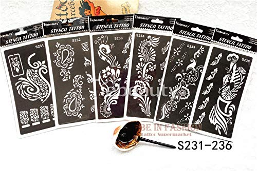 Henna Stencils 50pcs/lot Henna Tattoo Stencils for Painting Body Art Glitter Tatoo Stencil templates on Hand feet Indian Arabic Designs Sheets