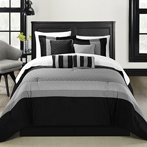 Chic Home Diamante 12-Piece Comforter Set, King, Black