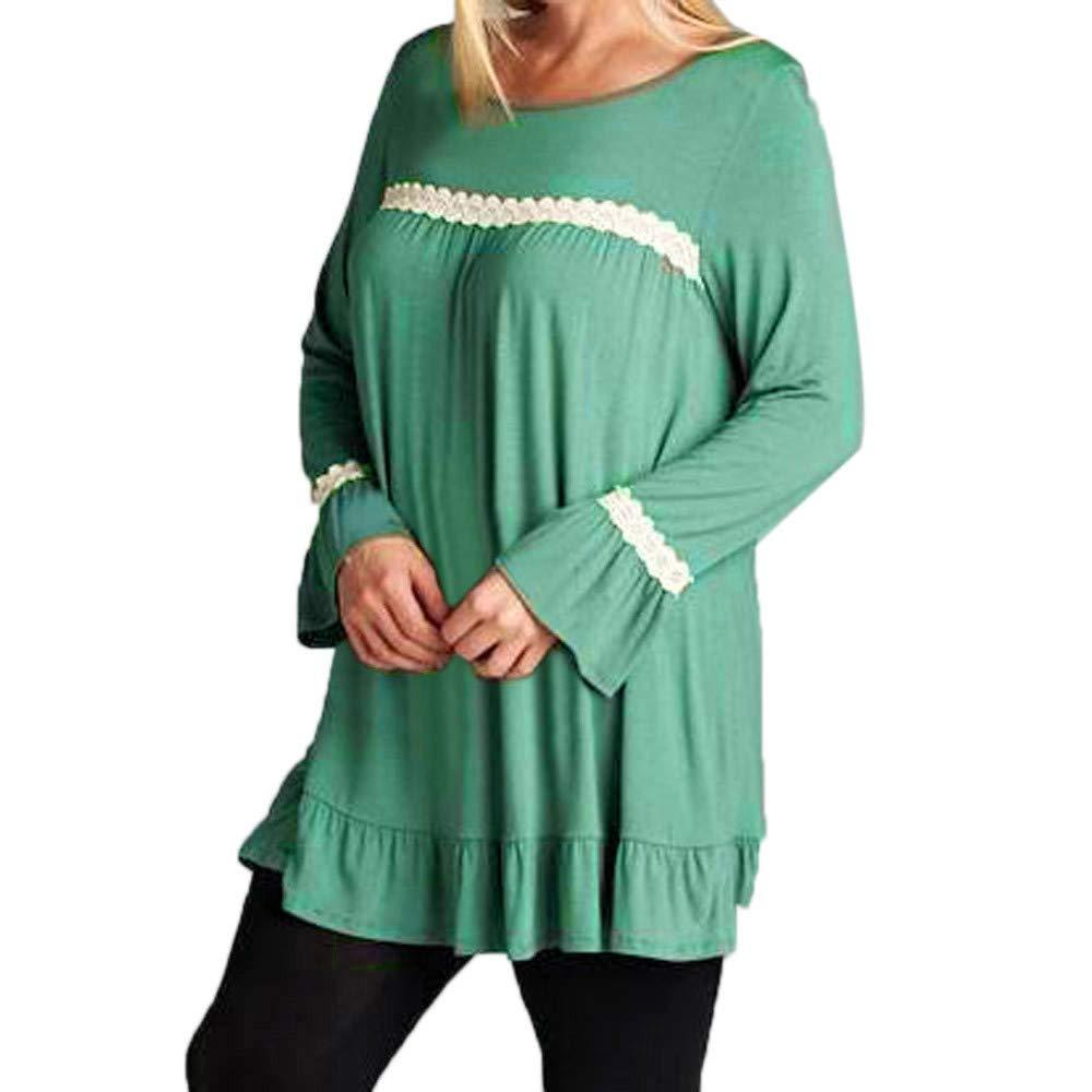 Women's Henleys, Women Hoodies with Ears, Women Ladies Long Sleeve Lace Ruffle Casual Tops T-Shirt Loose Blouse (Green, 4XL)