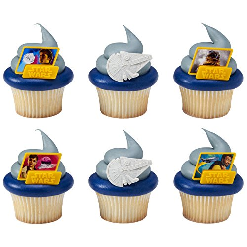 Star Wars Movie Han Solo Cupcake Topper Rings - Set of 12 ()