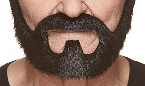 Mustaches Self Adhesive, Novelty, On Bail Fake Beard, False Facial Hair, Costume Accessory for Adults, Black Lustrous Color ()