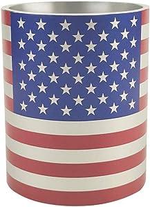 Pen Holder, American Flag Metal Pencil Pen Holder, Desktop Stationery Organizer Storage Box Case Circle Brush Pot for Home Office Decor (American flag)