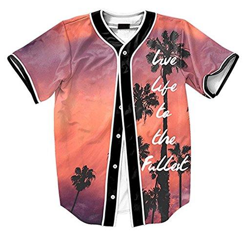 Baseball Jersey Coat (Short Sleeve Baseball Collar Arc Bottom 3D Sunset Print Buckle Jersey Tops Basketball Team Tee Dance T Shirt Baseball Coat)