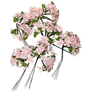 Daric VL6300 Hydrangea Flower Pick with Green Satin Leaf Accent, Pink, 36-Pack 112