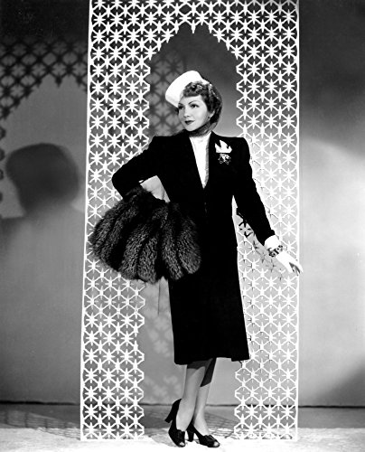 Midnight Claudette Colbert In A Black Wool Suit By Irene With A Crystal-Beaded Blouse And Silver Fox Muff 1939 Photo Print (8 x 10)