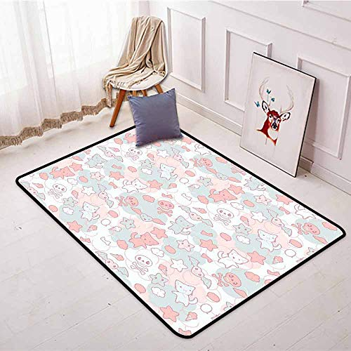 Outdoor Patio Rug,Doodle,Cartoon Styled Cute Cats Bats and Skulls Japanese Inspired Kawaii Design,Machine-Washable/Non-Slip,3'11