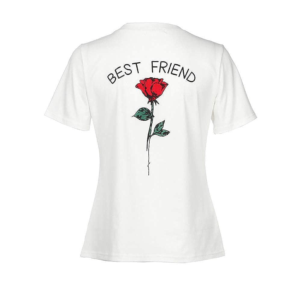 Topgrowth T-Shirt da Donna Maglietta a Maniche Corte Rose Stampato Collo Rotondi Best Friend Causale Camicette S-5XL