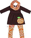 Boutique Halloween Damask Pumpkin Scarf Set 8T/3XL