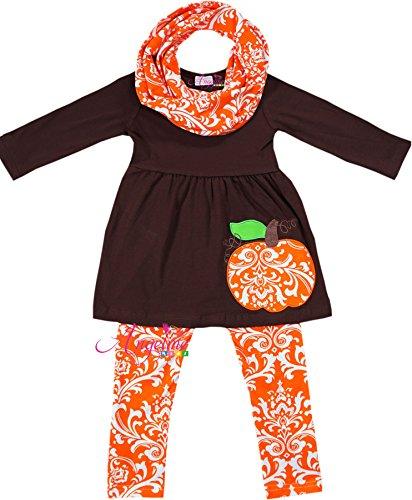 Boutique Halloween Damask Pumpkin Scarf Set 8T/3XL by Angeline