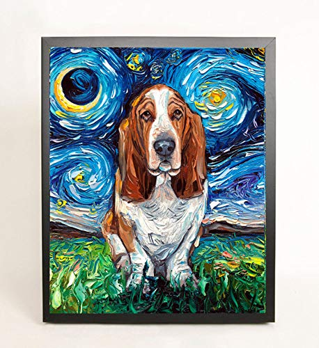 Ready to hang Art Basset Hound Starry Night Dog Black Framed CANVAS print by Aja cute pup Brussels Griffon artwork Choose from 8x10, 11x14, 16x20, 20x24, 22x28, 24x30, and 30x38 ()
