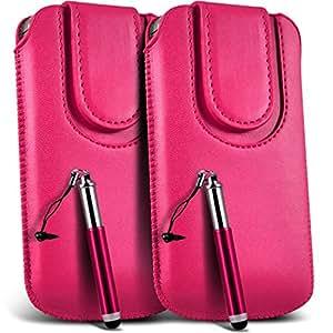 Online-Gadgets UK - LG L50 PU cordón de cuero botón magnético Tire cubierta de la caja de la bolsa del tirón Tab y retráctil Stylus Pen (paquete doble) - Rosa