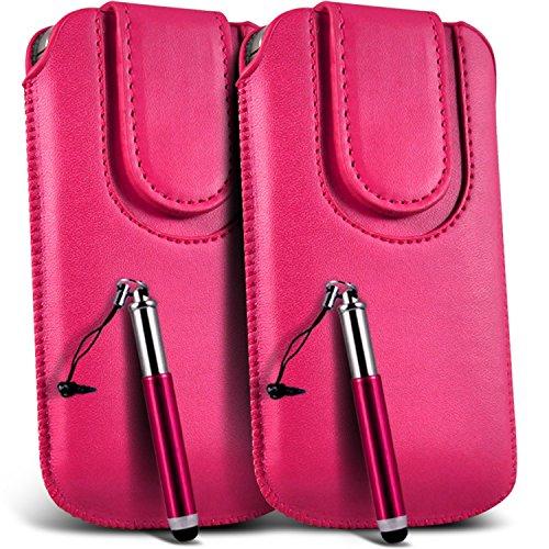 N4U Onine - Apple Iphone 4S Case en cuir PU bouton magnétique tirette Flip cordon Pouch Housse & Stylet rétractable (paquet double) - Rose Chaud