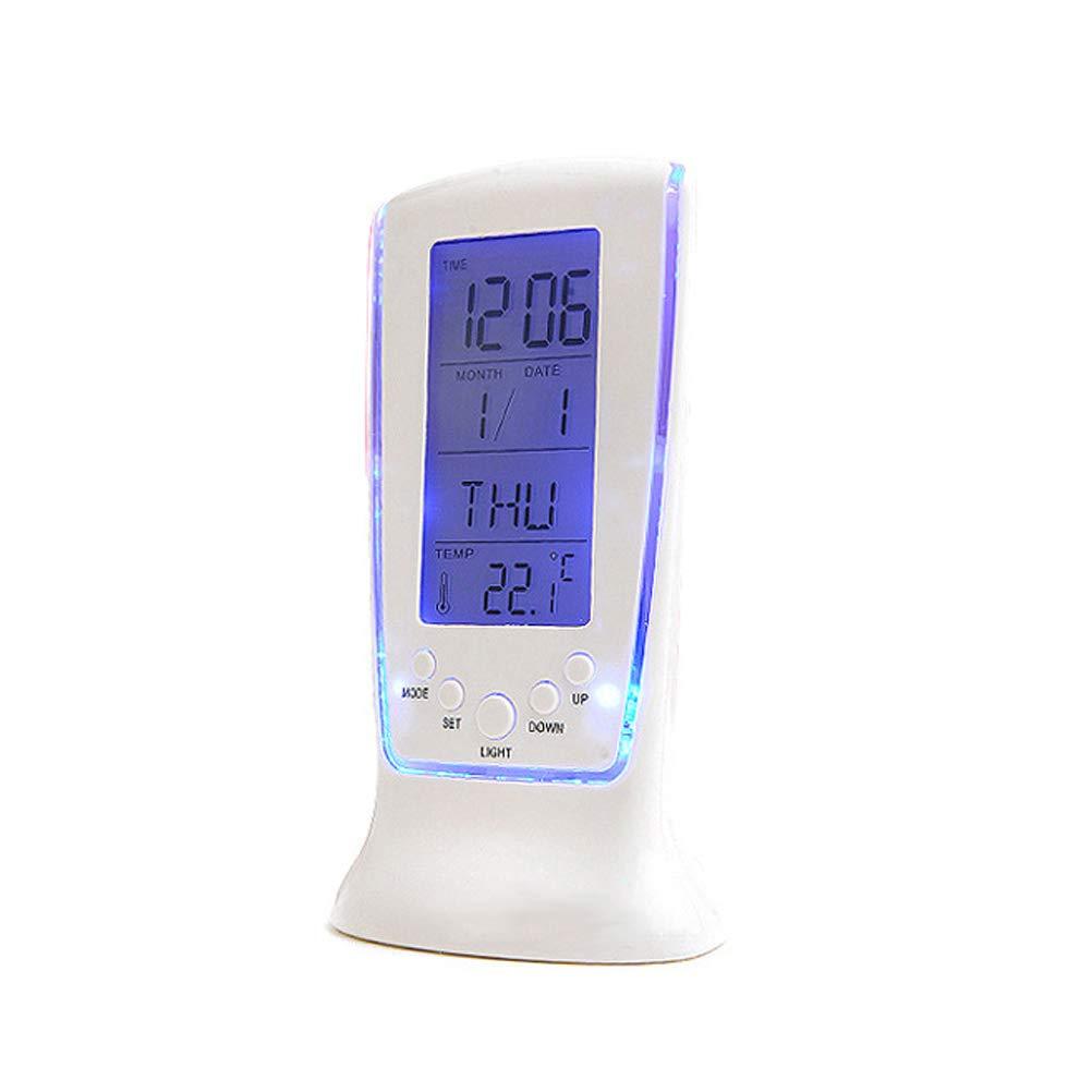 sans Piles Vosarea 2 pcs LED r/éveil lumi/ère de Nuit avec Date Semaine Heure Affichage de la temp/érature