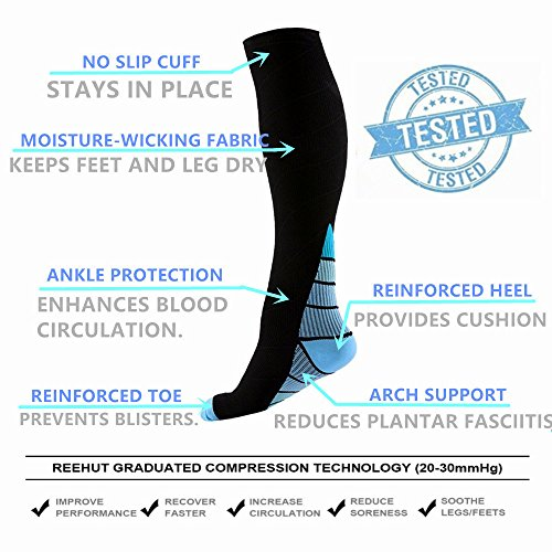 Graduated Compression Socks for Men & Women, BEST Athletic Fit for Running, Cycling, Nurses, Shin Splints, Air Travel,Foot Support & Maternity Pregnancy. Boost Stamina, Circulation, & Recovery -2 Pair by H-Brotaco (Image #5)