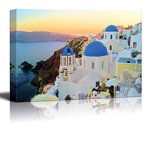 Canvas Sunset Outdoor Island (Canvas Prints Wall Art - Sunset View of the Blue Dome Churches of Santorini, Greece | Modern Wall Decor/ Home Decor Stretched Gallery Wraps Giclee Print & Wood Framed. Ready to Hang - 24