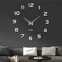 Originalidad Mirror Wall Clock DIY Wall Clock 3D Wall Clock Stickers Modern Wall Clock for Living Room/Bedroom, Home Decor