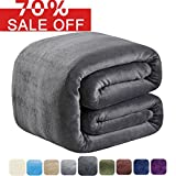 #5: SOFTCARE Fleece Blanket Queen Size 350GSM Throw Blanket Super Warm Soft For The Bed Sofa Lightweight Dark Grey 90