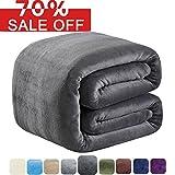 #6: SOFTCARE Fleece Blanket Queen Size 350GSM Throw Blanket Super Warm Soft For The Bed Sofa Lightweight Dark Grey 90