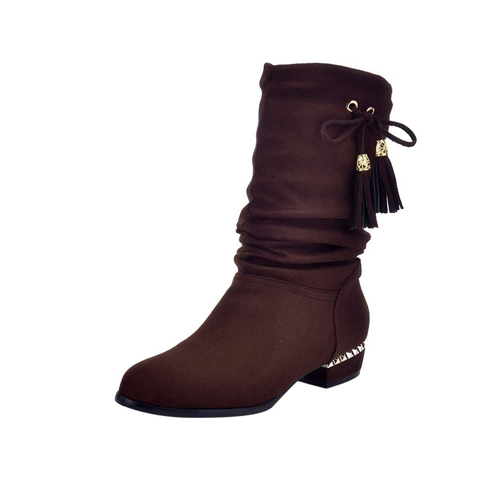 Clearance for Shoes,AIMTOPPY Women's Suede Round Head Low Square with Tassel Butterfly Decorative High Boots