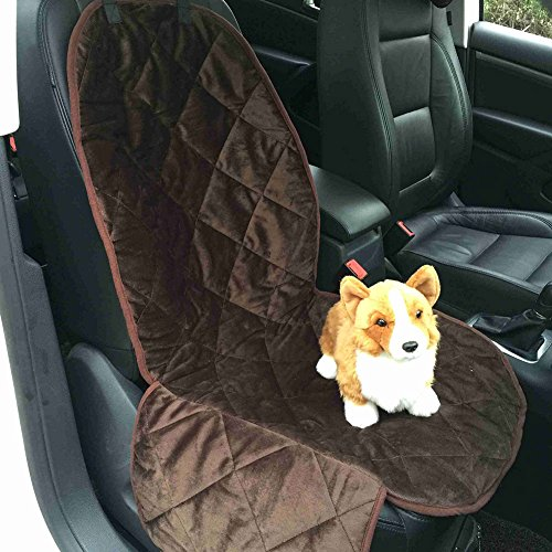 NICREW Quilted Waterproof Dog Front Seat Cover For Cars With Side Flap