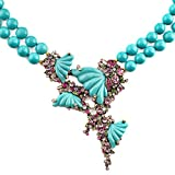 Heidi Daus Blue resin Carved butterfly drop colorful Swarovski crystal Necklace New With Tag