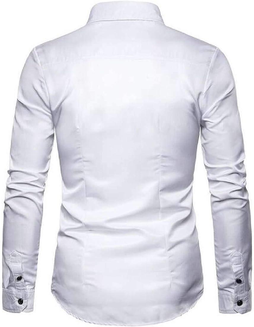 Fubotevic Men Regular Fit Long Sleeve Nightclub 3D Print Button Down Shirt