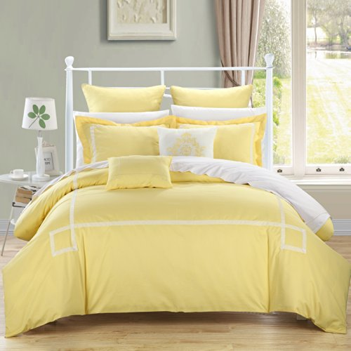 Chic Home Woodford 11 Piece Bed in a Bag Embroidered Comforter Set with 4 Piece Sheet Set ()