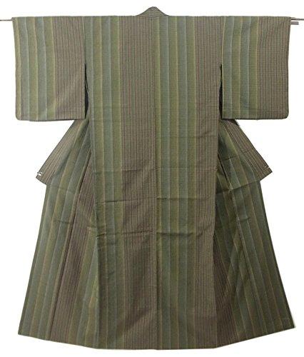 自然体操選手受益者リサイクル 着物 小紋  ひとえ 正絹 うぐいす色 縦縞 裄65cm 身丈162cm