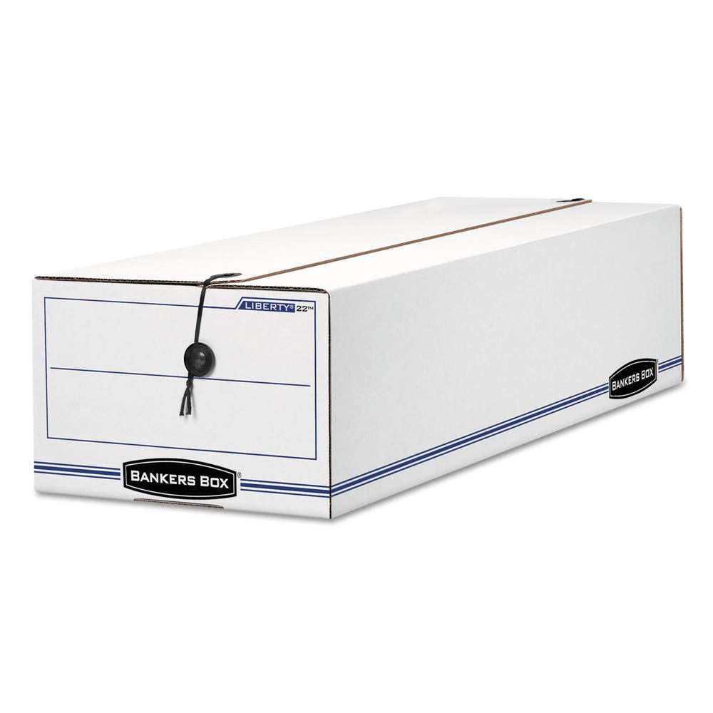 Bankers Box Liberty 65% Recycled Corrugated Storage Boxes, 6 1/4'' x 9 3/4'' x 23 3/4'', White/Blue, Case of 12