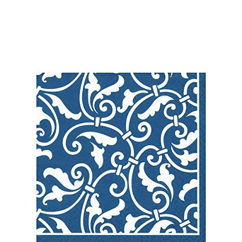 "Party Ready Ornamental Scroll Beverage Napkins Tableware, Royal Blue, Paper , 5"" x 5"", Pack of 16"