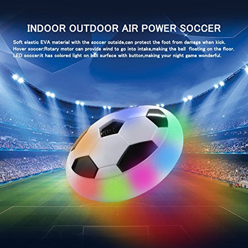 Indoor Outdoor Air Power Soccer Hover Disk Ultraglow with Foam Bumpers and Light Up LED Lights - Christmas Gift for Kids