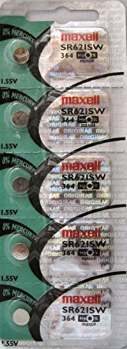 MAXELL 364 SR621SW, AG1 - 1 Pack of 5 Batteries. Free Ship USA GP164.