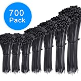 AUSTOR 700 Pieces Zip Ties Black Nylon Cable Zip Ties Self Locking Cable Ties in 4/6/ 8/10/ 12 Inches for Home Office Garage and Workshop