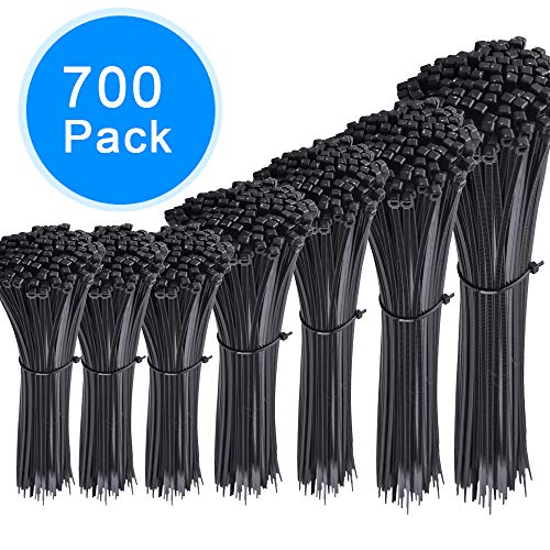 AUSTOR 700 Pieces Zip Ties Black Nylon Cable Zip Ties Self Locking Cable Ties in 4/6/ 8/10/ 12 Inches for Home Office Garage and Workshop by AUSTOR