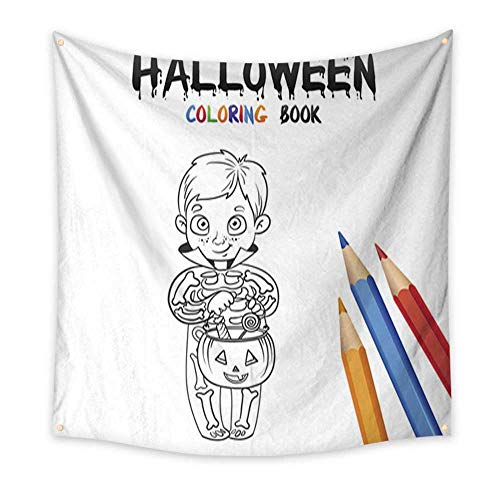 Anniutwo Beach Wall Tapestry Halloween Coloring Book Cute Baby Cartoon Character Blanket Home Room Wall Decor 70W x 70L Inch ()