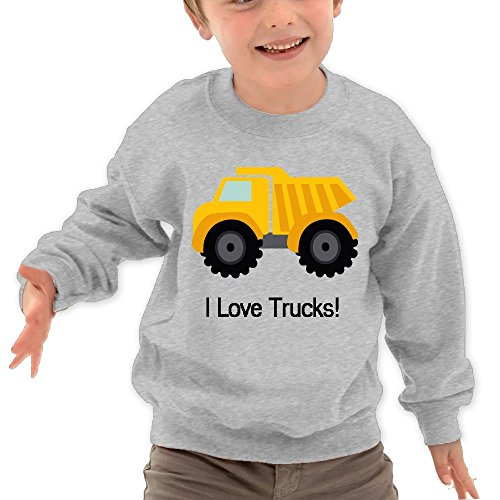 Puppylol Love Trucks Kids Classic Crew Neck Pullover Hoodie Ash 5 6 Toddler