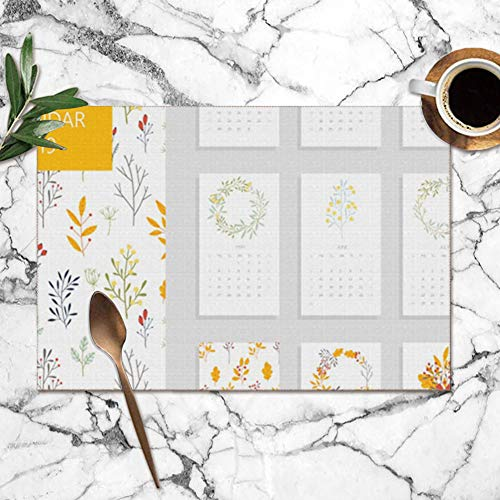X-Large Printable Calendar 2019 Beautiful Botanical The Arts Washable Placemats for Dining Table Double Fabric Printing Polyester Place Mats for Kitchen Table Set of 6 Table Mat 12