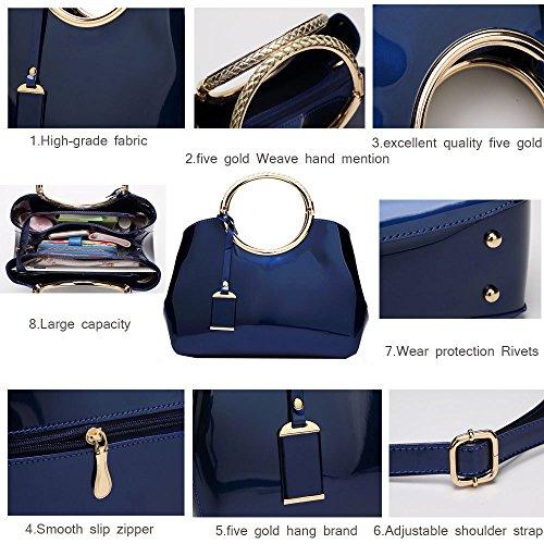 Cuir à Sacs Messenger En Vernis Polyvalent Brillant Sac à Sac Main Main à Blue LQQAZY Bandoulière v5IxFw5