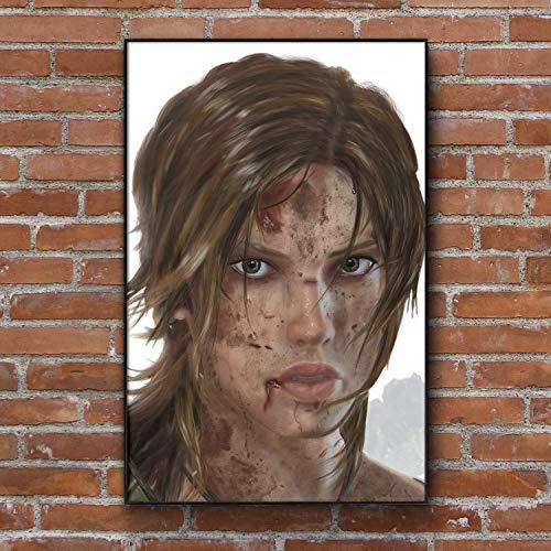 (Lara Croft Tomb Raider Painting - Art Print - Wall Decor - Framed Poster - Gift (4x6-11x17 IN))