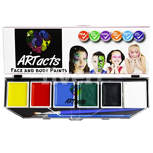 ARTacts Face Paint Kit For Kids- 6 Color Paints- 2 Brushes And Stencils Comes In A Pallet For Easy Mixing Nontoxic And Waterbased Sutiable For Childrens Senstive And Hypoallergenic Skins (Spiderman White Tiger Kiss)
