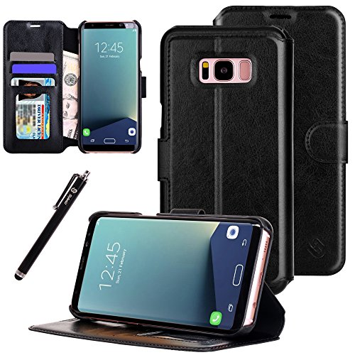 Galaxy S8 Plus Case, Style4U Ultra Slim Premium Durable Leather Protective Wallet Case with Card & Cash Slots, Kickstand, Flip Cover & Secure Magnetic Closure for Galaxy S8 Plus + 1 Stylus [Black]