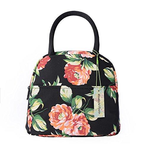 wonderful flower Insulated Lunch Box Cooler Bag lunch bag flower (014Black)