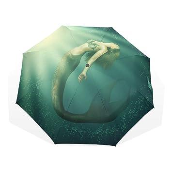 EZIOLY Fantasy - Paraguas de Viaje con Cola de Sirena para Mujer, Ligero, Anti